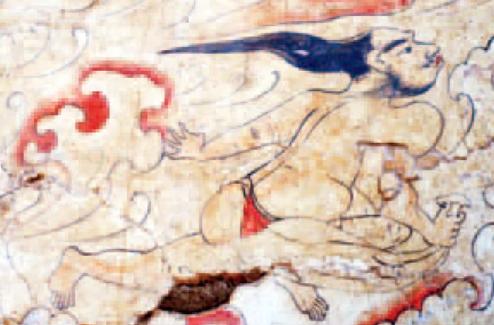 Aqui os arqueologistas encontraram adividade do ar usando uma vestimenta um tanto quanto peculiar (Foto: Reprodução)