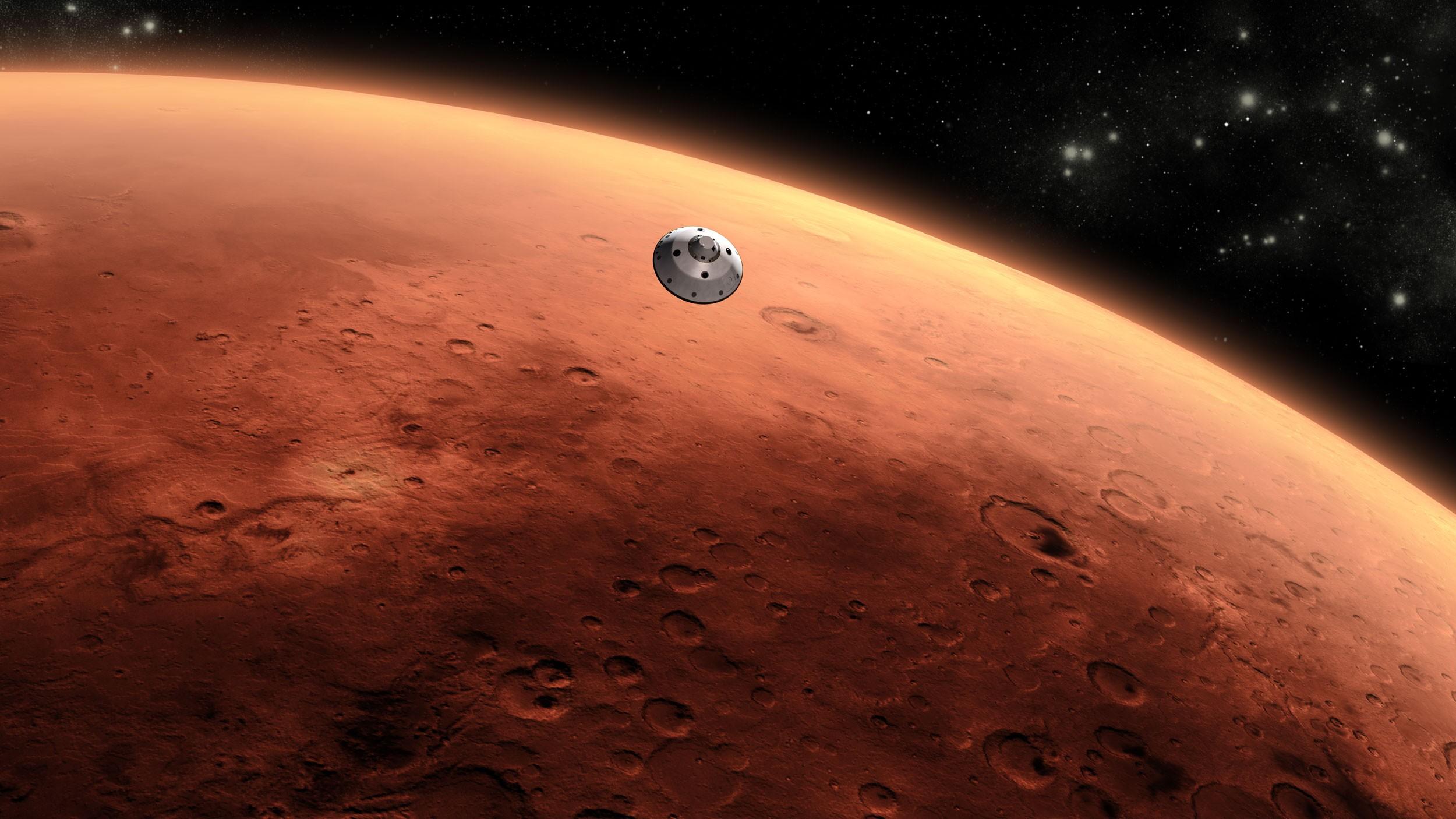 Reprodução da chegada da sonda Curiosity ao planeta vermelho (Foto: Divulgação/NASA)