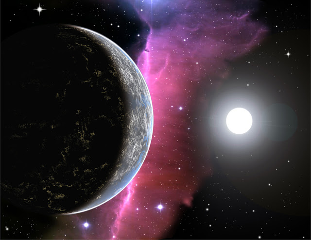 Ilustração artistica de um planeta habitado por civilização alienígena avançada