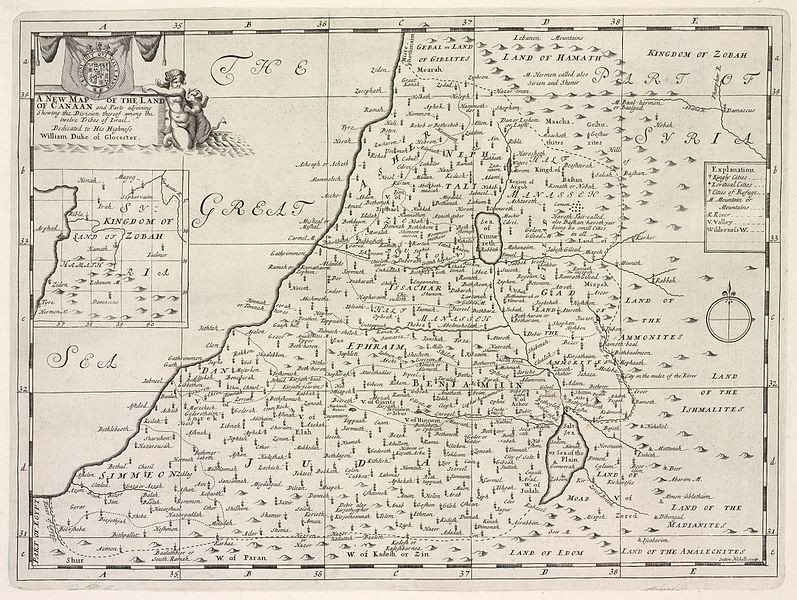 Mapa da região de Canaã (Foto: New York Public Library's Digital Library/ Wikimedia Commons)