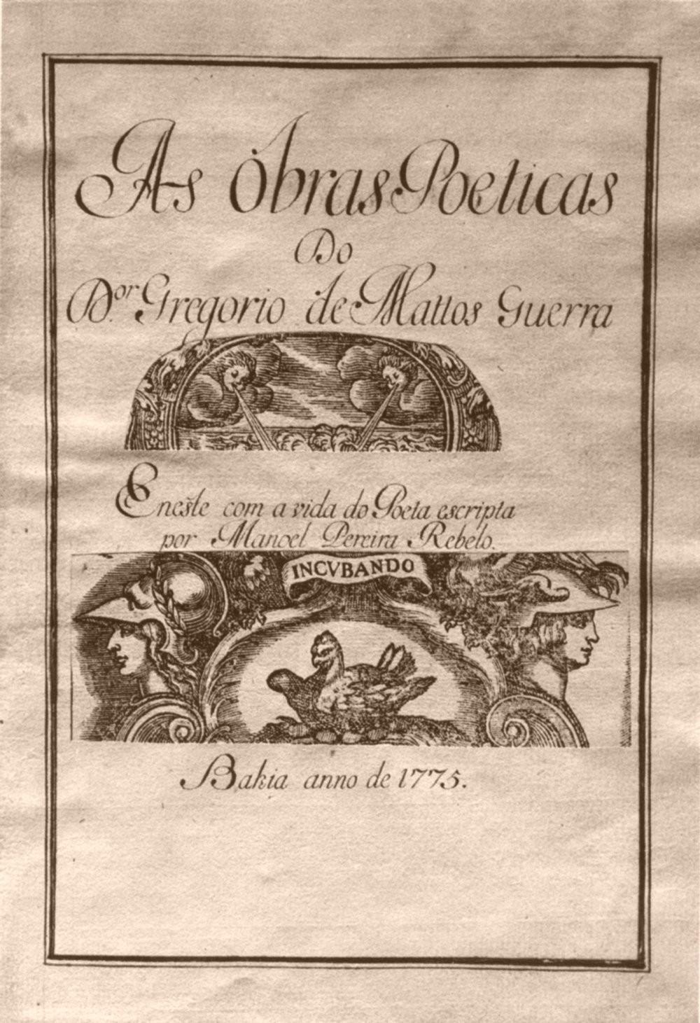Livro com poemas de Gregório de Matos publicado em 1775 (Foto: Wikimedia Commons)