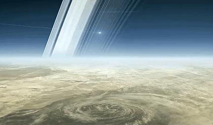 A despedida de Cassini na atmosfera de Saturno