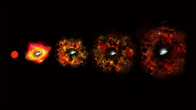 Ilustração mostra os estágios de uma estrela que falha na fase de supernova e se torna um buraco negro