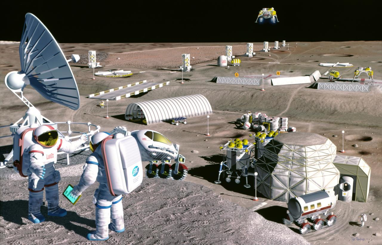 Concepção artística de base na Lua (Foto: NASA)