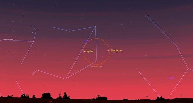 Na manhã de 30 de abril, Júpiter vai brilhar perto da lua cheia, fazendo uma visão deslumbrante do amanhecer.